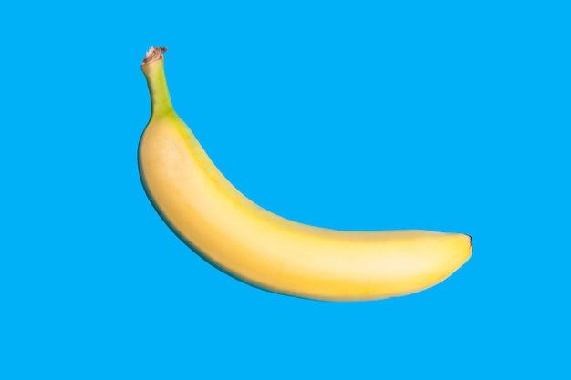 생생한 파란색 배경에 노란색 신선한 바나나입니다. 최소한의 스타일. 평면도