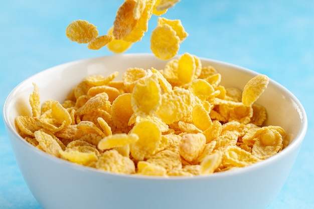 Yellow frosted corn flakes bowl for dry, cereals breakfast