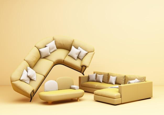 노란색 가구 클래식 소파 안락의 자 테이블 노란색 배경 3d 렌더링에 재미 구성