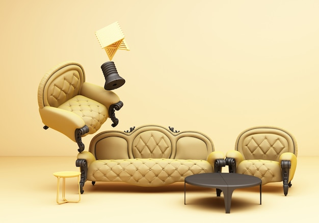 Yellow furniture classic sofa armchair table fun composition on yellow background 3d rendering