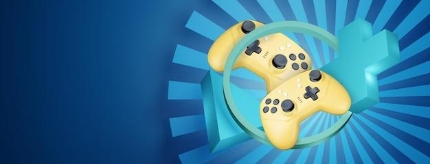 あなたのデザインのための空の場所と抽象的な青い背景の黄色のゲームコントローラー。