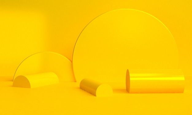 Yellow geometric shape minimalist abstract background, 3d render.