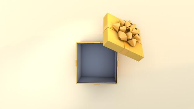 Желтая подарочная коробка и зеленая лента, вид сверху