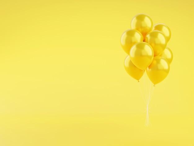 黄色の光沢のある風船の3dは、コピースペースのある背景にイラストをレンダリングします。誕生日や記念日のお祝いのコンセプトのための飛行ヘリウム気球の束。光沢のあるフローティングインフレートボール。