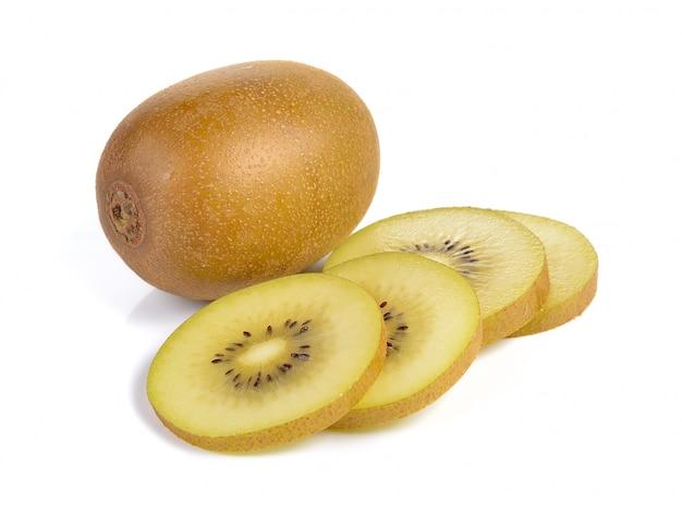 흰 벽에 옐로우 골드 키위 과일