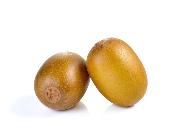 Yellow gold kiwi isolated on white