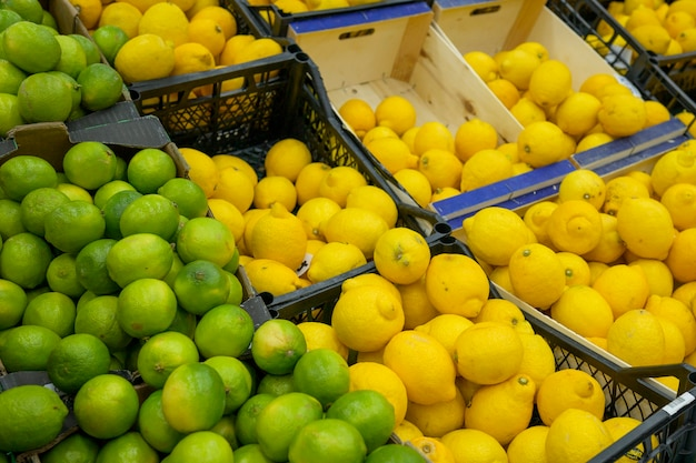 Yellow and green lemons on the shelves in the supermarket for buyers, citrus