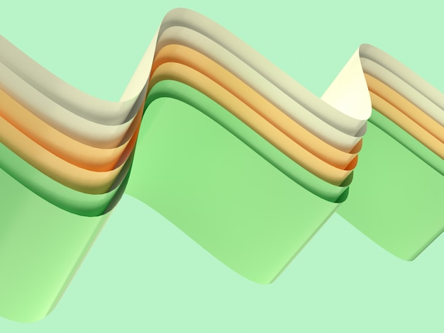 Yellow green white curve wave abstract shape levitation 3d rendering background