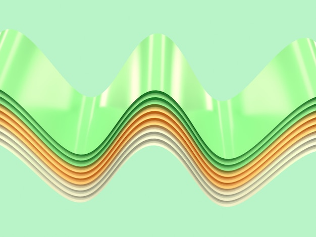 Yellow green white curve wave abstract shape levitation 3d rendering
