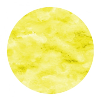 Yellow hand drawn watercolor circular frame background texture with stains
