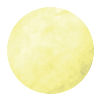 Yellow hand drawn watercolor circular frame  texture with stains