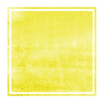 Yellow hand drawn watercolor rectangular frame background texture with stains
