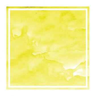 黄色の手描きの汚れと水彩長方形フレーム背景テクスチャ