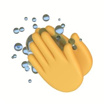Желтые руки мыть значок emoji кнопка очистки жест смайлик знак covid коронавирус