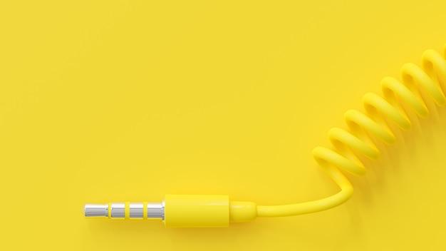 노란색 헤드폰 잭 및 텍스트 복사 공간. 최소한의 아이디어 개념, 3d 렌더링.