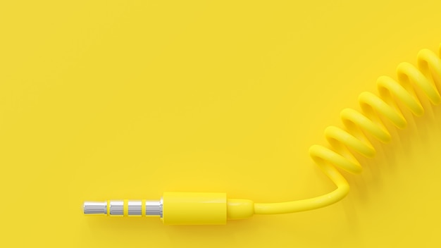 Yellow headphone jack and copy space for your text. minimal idea concept, 3d render.