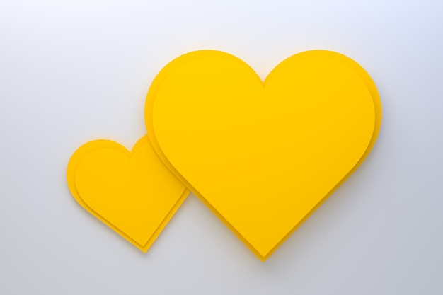 Yellow hearts on white background