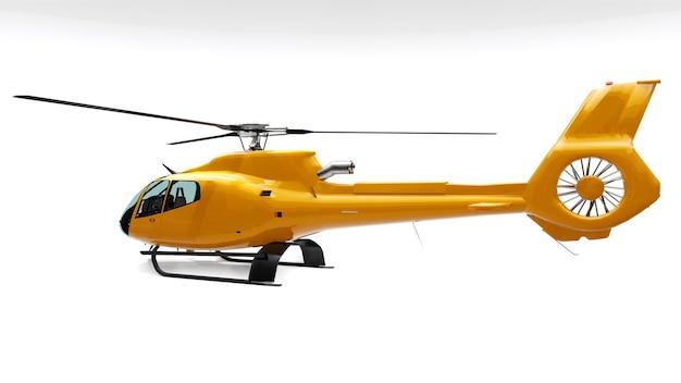 白い背景で隔離の黄色いヘリコプター。 3dレンダリング。