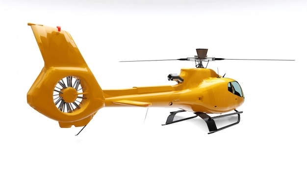 Yellow helicopter isolated on the white