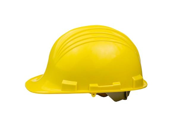 Yellow helmet on white background isolate