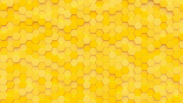 Yellow hexagon texture background. 3d render.