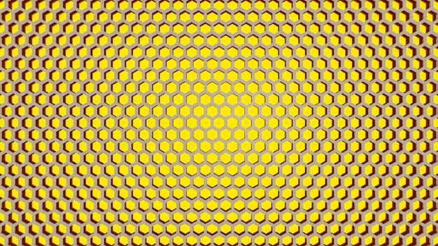 黄色の六角形のテクスチャの背景。 3dレンダリング。