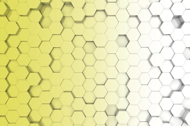 黄色の六角形の背景。 3d背景