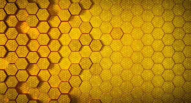 Желтая сотовая структура футуристический шестиугольник фон