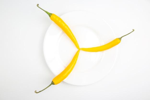白地に黄色い唐辛子