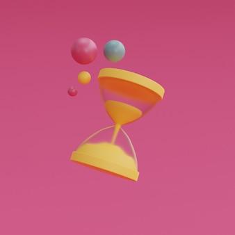 분홍색 배경에 고립 된 노란색 모래 시계