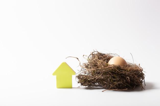 Желтый домик возле гнезда. символ защиты и заботы о доме и семье.