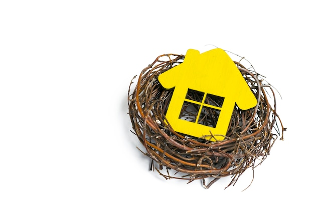 Yellow house in the nest on white isolated