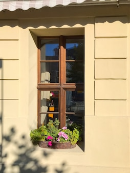 Yellow house with a flower pot on the window of a building on a bright sunny day