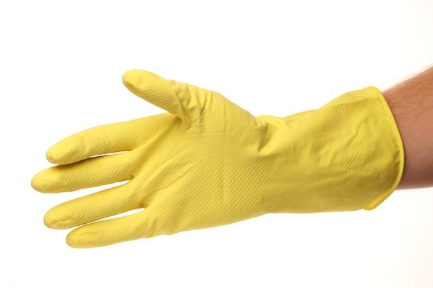 分離された黄色の家庭用ミトン