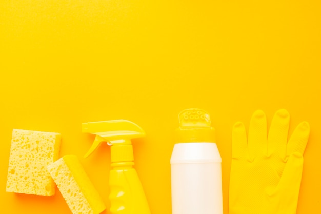 Yellow hygiene products flat lay