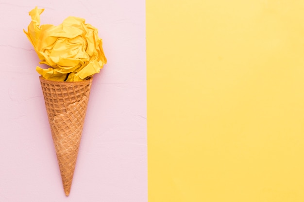 Yellow ice cream on different color background