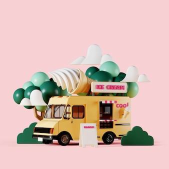 Yellow ice cream truck with garden on pink background