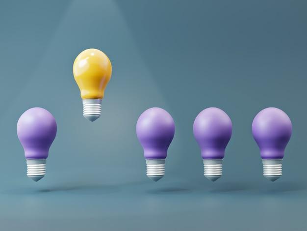 Желтая лампочка идеи и фиолетовые лампочки