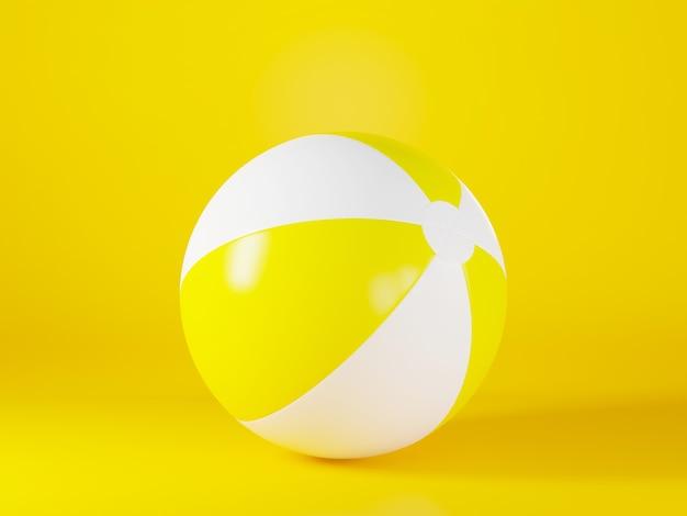 스포츠 게임 여름 3d 렌더링을 위한 노란색 풍선 비치 볼 모형 조명 구 장난감