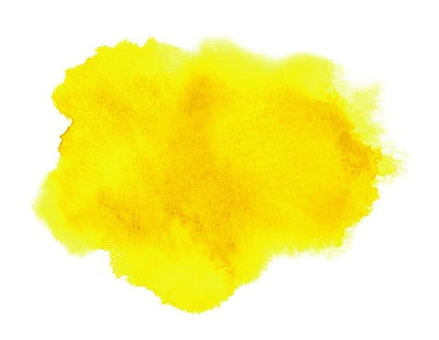 Пятно желтых чернил с смывкой, жидкой краской. акварельный фон Premium Фотографии