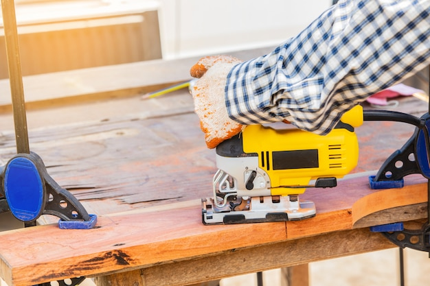 The yellow jigsaw for wood working