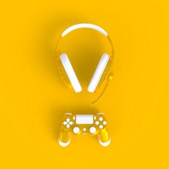 Yellow joystick with yellow headphones on yellow table background