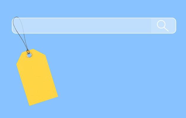 Желтый ярлык висит на поисковой системе