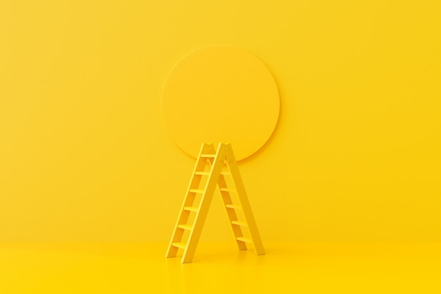 Yellow ladder on the background
