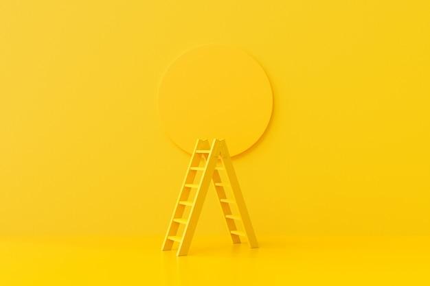 背景に黄色のはしご