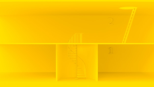 Yellow ladders with different characteristics.