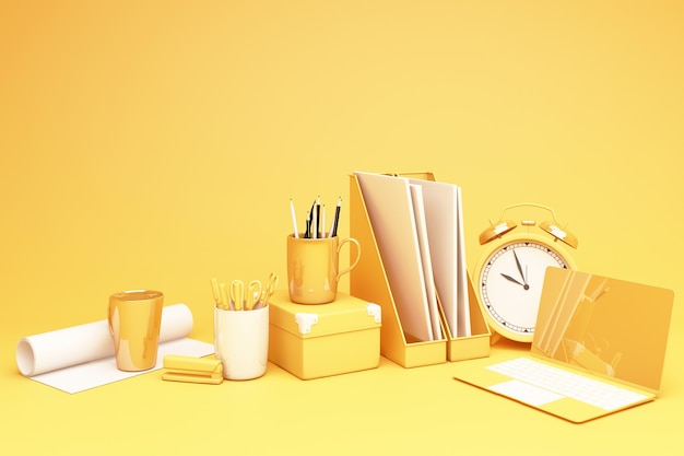노란색 노트북 및 wokring 테이블 세트 3d 렌더링