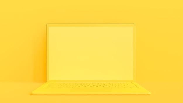 黄色のラップトップ。最小限のアイデアのコンセプト、3dレンダー。