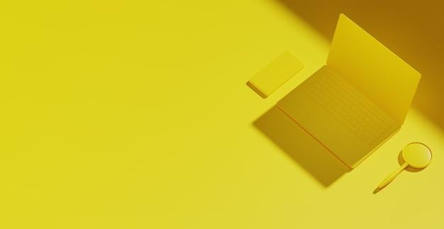 노란색 노트북 기술 찾기 개념입니다. 백그라운드 랜딩 메인 페이지. 복사 공간입니다. 3d 그림입니다.