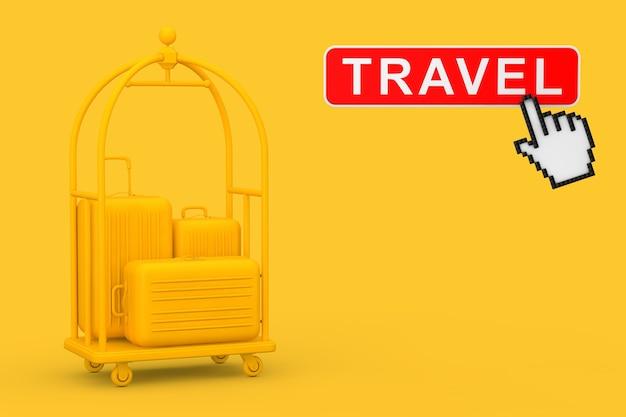 黄色の高級ホテルの荷物トロリーカートにある黄色の大きなポリカーボネート製スーツケース。黄色の背景にトラベルボタンとピクセルアイコンの手が付いています。 3dレンダリング